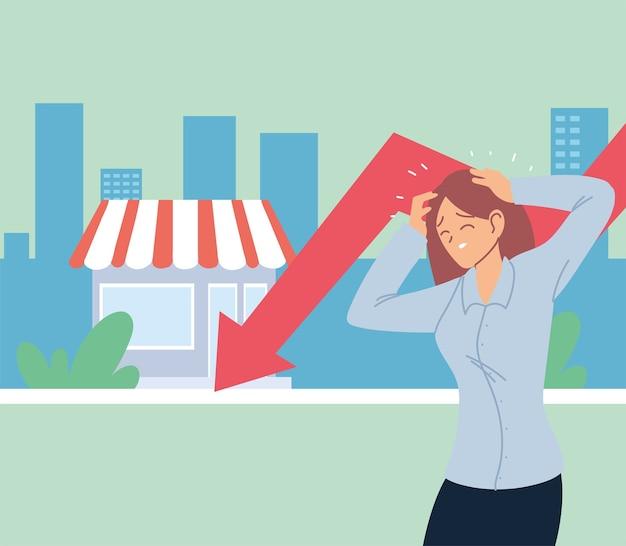 Imprenditrice con mal di testa e diminuire la freccia davanti al negozio