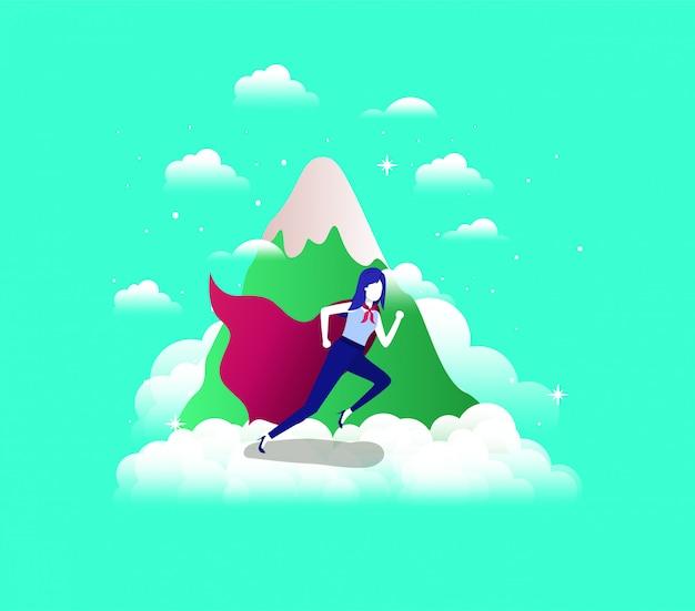 Imprenditrice con cappotto di eroe in esecuzione nel cielo e montagna