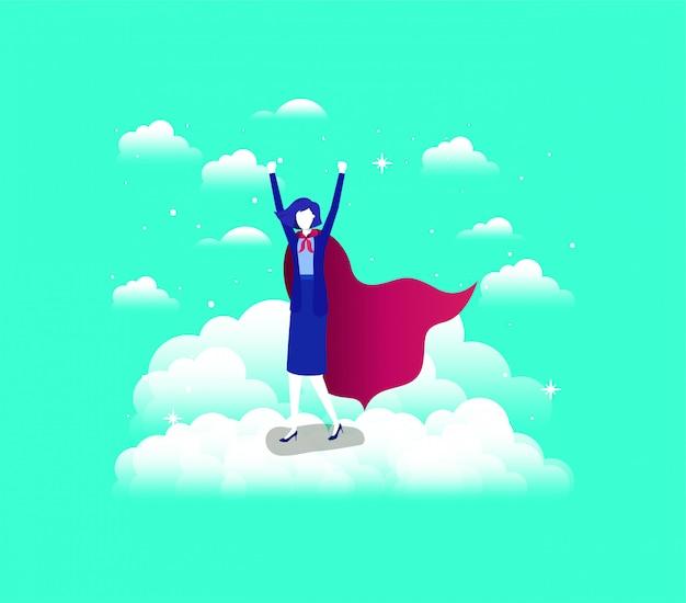 Imprenditrice con cappotto di eroe in esecuzione nel cielo