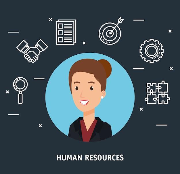 Imprenditrice con risorse umane imposta icone