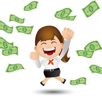 Donna d'affari con soldi in contanti