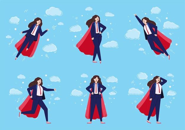 Donna d'affari con il potere di un super eroe che vola nel cielo