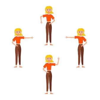 Imprenditrice lavorando character design set. la ragazza mostra la mano e l'indice.
