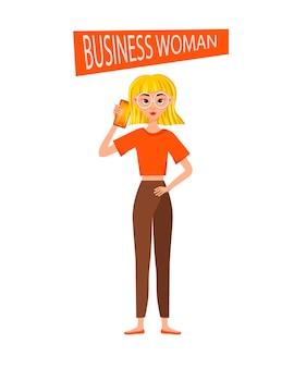 Set di caratteri di lavoro della donna di affari. la ragazza sta parlando al cellulare.