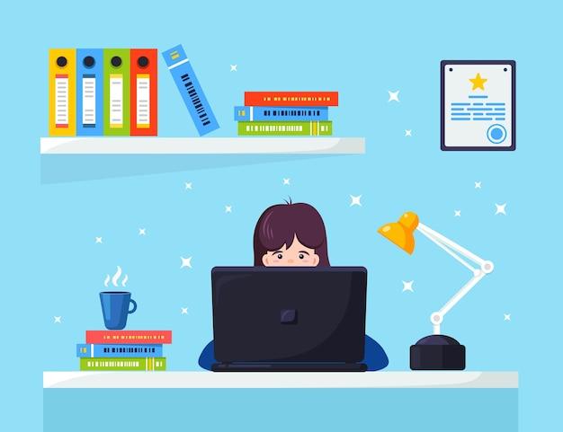 Imprenditrice lavorando alla scrivania illustrazione