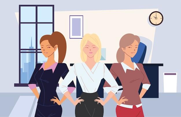 Cartoni animati di imprenditrici in ufficio design, gestione aziendale e tema aziendale