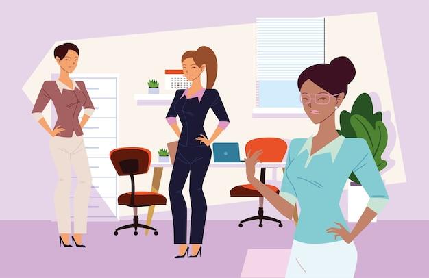 Cartoni animati di imprenditrici in ufficio con design scrivania, gestione aziendale e tema aziendale