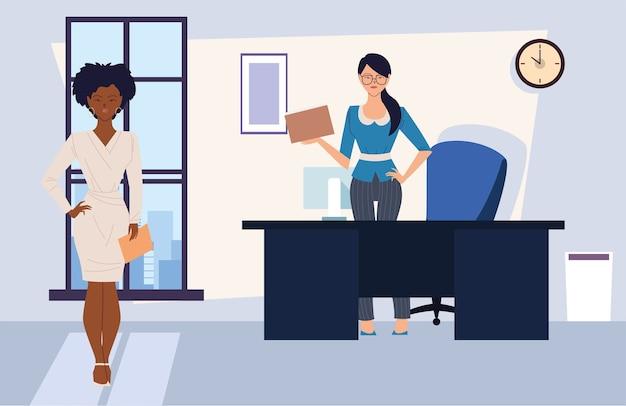 Cartoni animati di donne di affari con file in ufficio design, gestione aziendale e tema aziendale