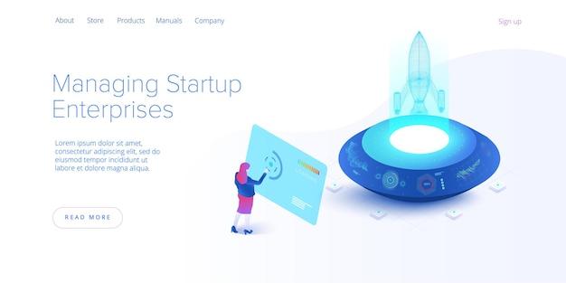 Pagina di destinazione isometrica di businnes start up concept
