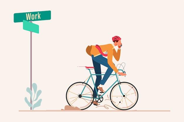 Bussinesman in sella alla bicicletta al lavoro