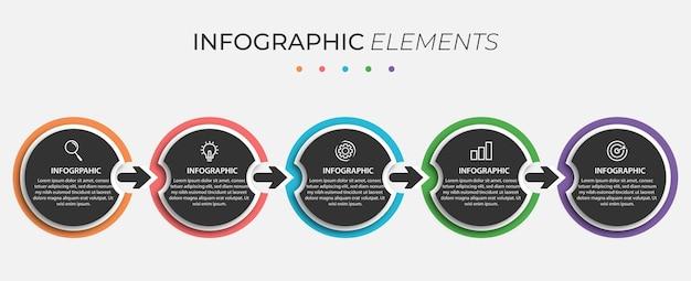 Modello di presentazione del design del cerchio infografico di affari con 5 opzioni