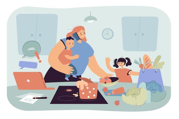 Mamma impegnata che tiene in braccio il bambino e fa i compiti. donna che lavora, si prende cura dei bambini, cucina a casa, illustrazione piatta del caos