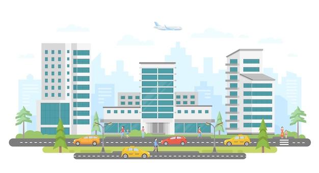 Strada trafficata - illustrazione vettoriale piatto colorato moderno su sfondo bianco. incantevole complesso residenziale con grattacieli, alberi, auto e taxi sulla strada, molte persone che camminano, aeroplani nel cielo