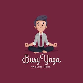 Modello di logo mascotte yoga occupato