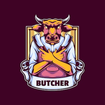 Modello di logo di mucca macellaio