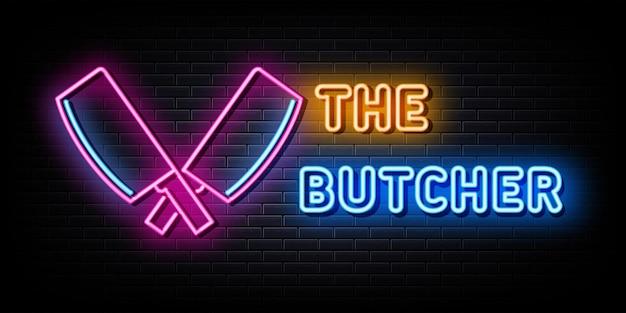 Logo macellaio insegne al neon modello disegno vettoriale stile neon