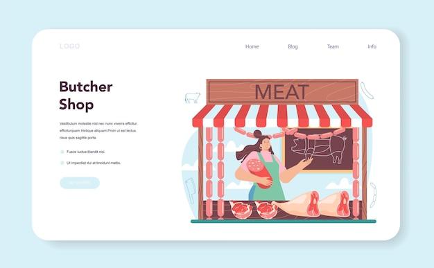 Macellaio o macellaio concetto carne fresca e prodotti semilavorati