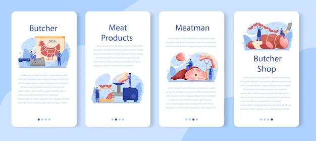 Set di banner per applicazioni mobili macellaio o carne