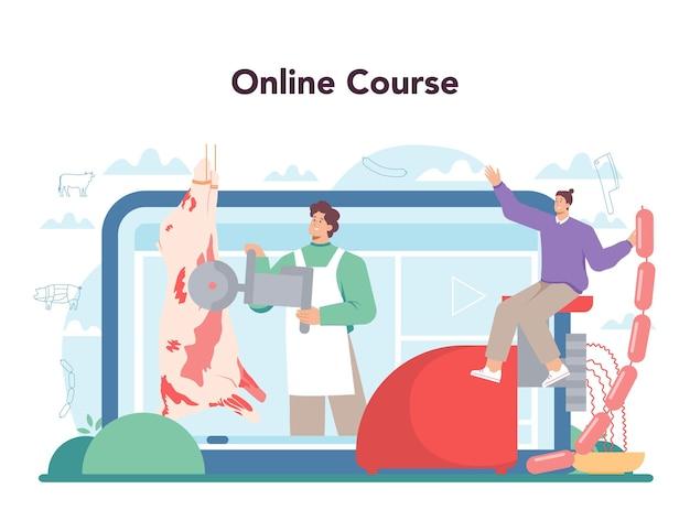 Servizio o piattaforma online di butcher o meatman. carne fresca