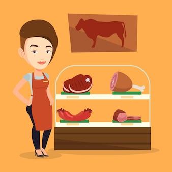 Macellaio che offre carne fresca nella macelleria.