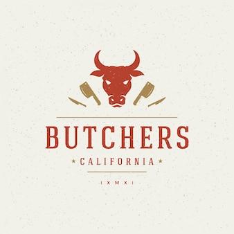 Butcher shop design element in stile vintage per logotipo