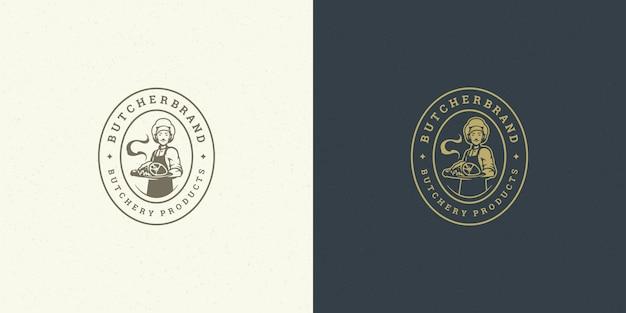 Cuoco unico di logo del negozio di macelleria che tiene la siluetta del piatto di carne buono per il distintivo del coltivatore o del ristorante