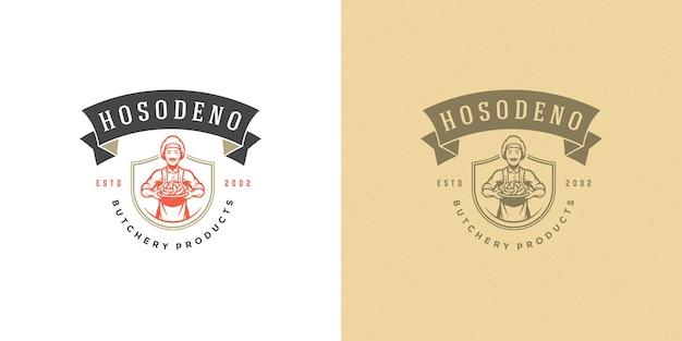 Cuoco unico di progettazione di logo del negozio di macelleria che tiene la siluetta delle salsicce buona per il ristorante