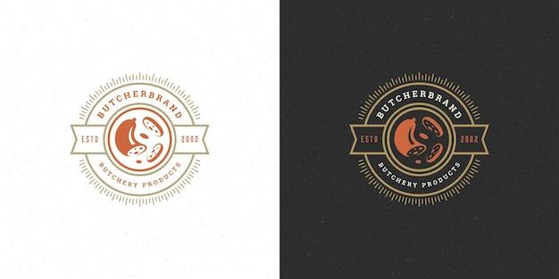 Siluetta della salsiccia di progettazione di logo del negozio di macelleria buona per il distintivo del mercato