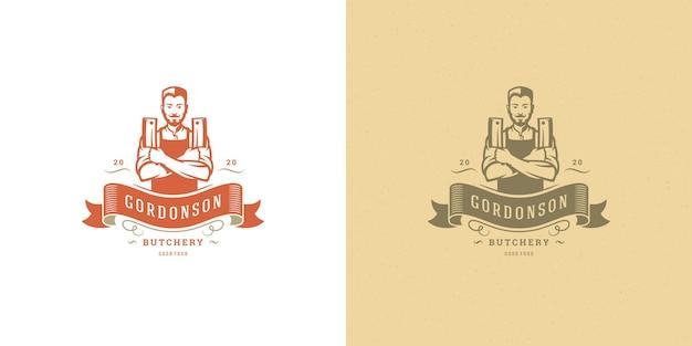 Cuoco unico dell'illustrazione di logo del negozio di macellaio che tiene insieme della siluetta dei coltelli
