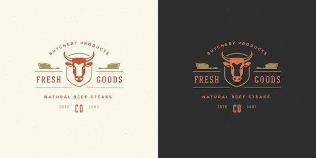 Siluetta della testa della mucca dell'illustrazione di logo della macelleria buona per il distintivo della fattoria o del ristorante