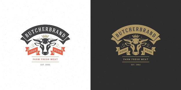 Insieme della siluetta della testa della mucca dell'illustrazione di logo del negozio di macelleria