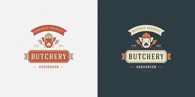 Butcher shop logo illustrazione testa di maiale silhouette set