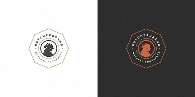 Siluetta della testa del gallo di logo del negozio di macellaio buona per il distintivo del ristorante o dell'azienda avicola