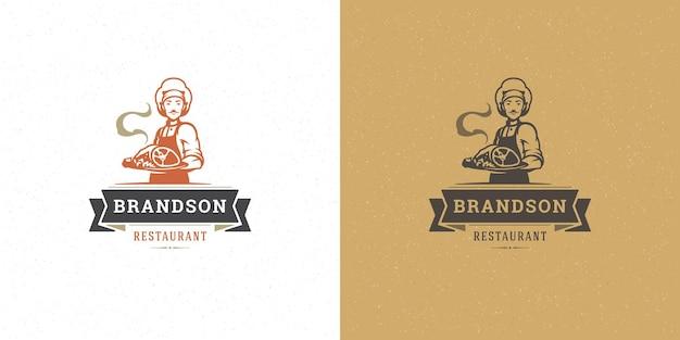 Cuoco unico dell'illustrazione di vettore del logo del negozio di macelleria che tiene la siluetta del piatto di carne buona per il distintivo del contadino o del ristorante. disegno dell'emblema di tipografia vintage.