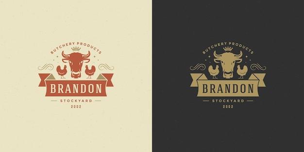 Macelleria logo vettoriale illustrazione sagoma testa di mucca buona per il distintivo di fattoria o ristorante. disegno dell'emblema di tipografia vintage.