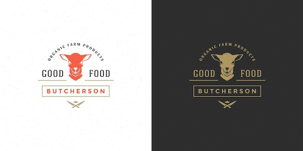 Macelleria logo vettoriale illustrazione sagoma di testa di agnello buona per distintivo di fattoria o ristorante. disegno dell'emblema di tipografia vintage.