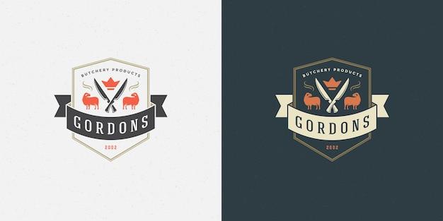 Agnello di illustrazione vettoriale logo macelleria con sagoma di coltelli buono per distintivo di fattoria o ristorante. disegno dell'emblema di tipografia vintage.