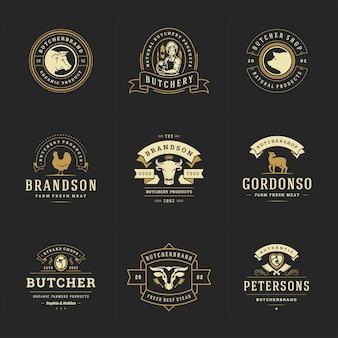 I loghi della macelleria hanno messo l'illustrazione buona per i distintivi della fattoria o del ristorante con animali e sagome di carne