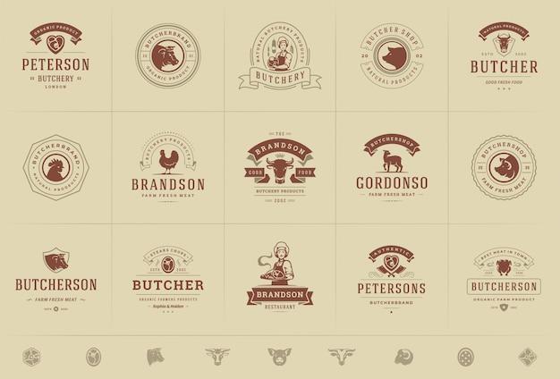 I loghi della macelleria hanno messo l'illustrazione di vettore buona per i distintivi dell'azienda agricola o del ristorante con gli animali e le siluette della carne