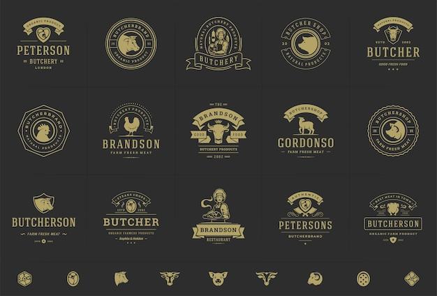 I loghi della macelleria hanno messo l'illustrazione di vettore buona per i distintivi della fattoria o del ristorante con gli animali e le siluette della carne