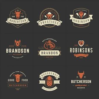 I loghi della macelleria hanno messo l'illustrazione di vettore buona per i distintivi dell'azienda agricola o del ristorante con gli animali e la carne
