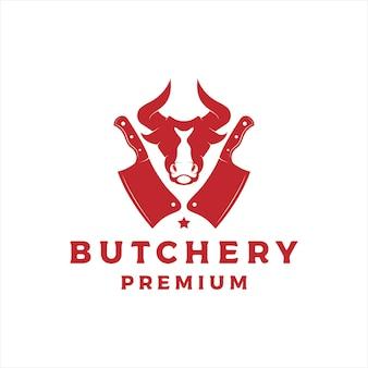 Macelleria logo design vettoriale con testa di toro e icona di coltello