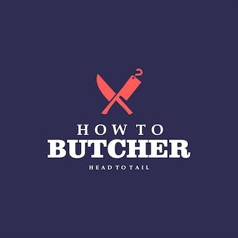 Logo della macelleria coltello tritare e tagliare vettore