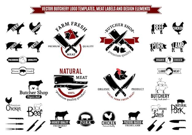 Modelli di logo di macelleria, etichette, icone ed elementi di design