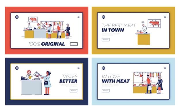Concetto di negozio di macelleria. pagina di destinazione del sito web.