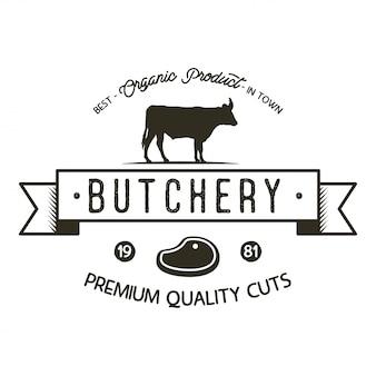 Modello di logo del negozio di macelleria