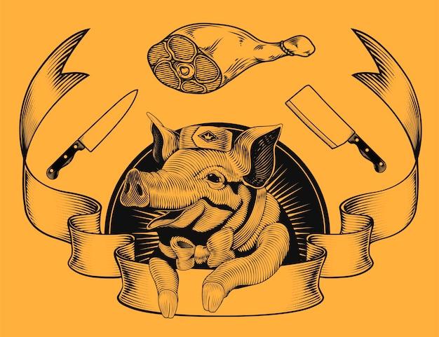 Logo di promozione del negozio di macelleria, adorabile maiale sorridente in stile incisione