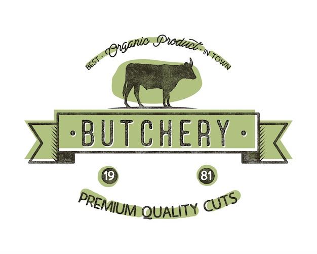 Emblema dell'annata negozio di macelleria. stile retrò logo negozio di macelleria. Vettore Premium