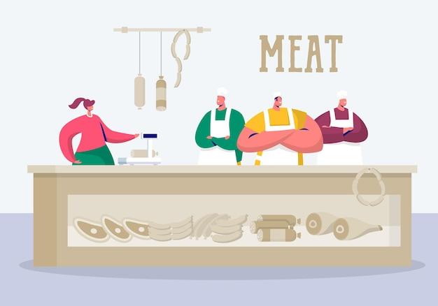 Stand del custode del negozio di macelleria al prodotto a base di carne locale.