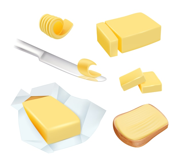 Burro. la margarina del prodotto calorico o il burro di latte blocca le immagini degli alimenti per la colazione a base di latte